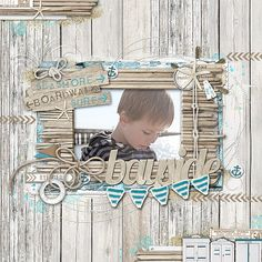Similar to the Blue Bay Collection by Kaisercraft. Bayside scrapbook page from Jenelle at DesignerDigitals.com