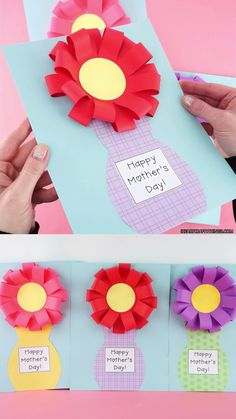 This Mother's Day flower vase craft is a fun and simple craft idea for kids to make for Mom, Grandma or any loved one for Mother's Day. It's sure to brighten their day! Come grab our free template to make this easy Mother's Day craft. Easy Mother's Day Crafts, Mothers Day Crafts For Kids, Diy Mothers Day Gifts, Fathers Day Crafts, Paper Crafts For Kids, Mothers Day Cards, Flowers For Mothers Day, Daycare Crafts, Toddler Crafts