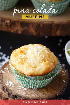 Pina Colada Muffins - Enjoy the tropical flavours of Pina Coladas as breakfast or an afternoon snack. Pina Colada Protein Shake Recipe, Protein Shake Recipes, Easy Bread Recipes, Vegan Recipes Easy, Baking Recipes, Yummy Recipes, Protein Shakes For Kids, Fruit Smoothies, Protein Smoothies