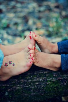 Mother & Daughter....i miss playing footsies with my kids #motherdaughtertattoos