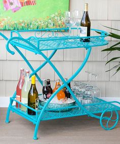 Look what I found on #zulily! Turquoise Indoor/Outdoor Metal Serving Cart  $109.99 #zulilyfinds