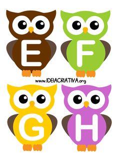 Alfabeto Letra Bastão Corujinhas Arabic Alphabet Letters, Alphabet Games, Alphabet And Numbers, Alphabet Activities, Kindergarten Activities, Preschool, Owl Theme Classroom, Infant Classroom, Stencils For Kids