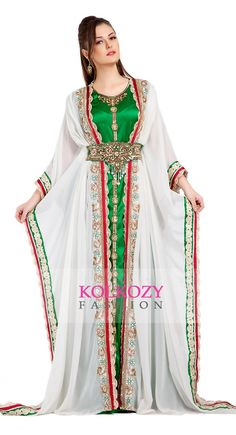 Fancy Long Length White Moroccan Takchita Kaftan