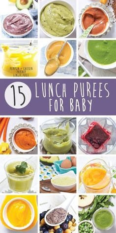 These 15 Lunch Purees for Baby are not only filled with a ton of essential nutrients for baby but they also taste amazing. A yummy lunch for baby that will keep them happy and healthy throughout the day, score! baby food 15 Lunch Purees for Baby Homemade Cereal, Homemade Baby Foods, Baby Puree Recipes, Pureed Food Recipes, Baby Weaning Recipes Puree, Recipes For Baby Food, Baby Bullet Recipes, Toddler Meals, Kids Meals