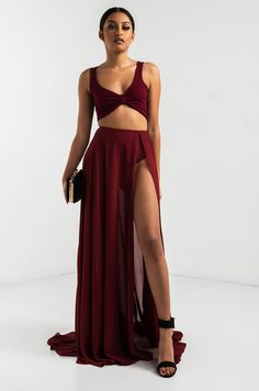 AKIRA Sheer Front Slit Maxi Skirt With Built In Underwear in Black, Burgundy