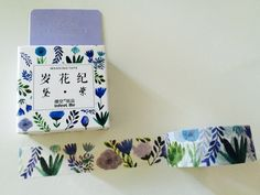 Purple and Blue Oriental Flowers Boxed Washi Tape by GoatGirlMH on Etsy
