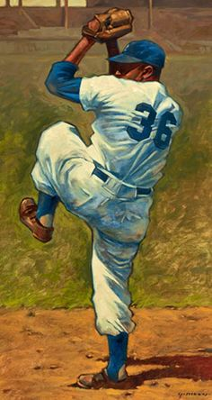 Don Newcombe of the Brooklyn Dodgers by Gary Davis - Sport Baseball Crafts, Baseball Art, Dodgers Baseball, Baseball Games, Baseball Stuff, Baseball Decorations, Baseball Videos, Baseball Signs, Baseball Painting