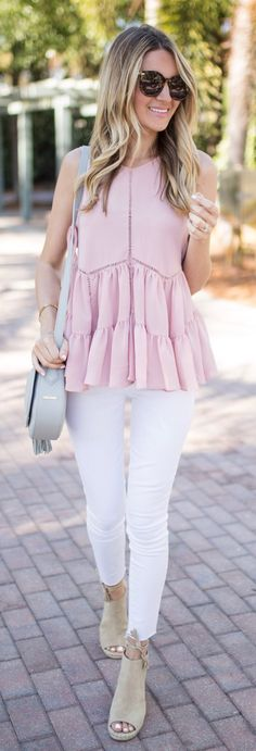 #spring #outfits Can't Get Enough Of Blush, Ruffles + Peplum On The Blog Today With @lastcallnm! This Adorable Tank Is On Serious Sale For Under $50 And Then An Additional 40% Off // Pink Flare Top + White Skinny Jeans