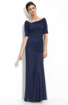 """Tadashi Shoji Asymmetrical Ruched Mesh Gown.  Off-center ruching enhances the flattering silhouette of a mesh gown with a wide, asymmetrical neckline. The full, gently pleated skirt sweeps into an elegant train in the back.Back zip with hook-and-eye closure.  Ruched elbow-length sleeves.  Approx. length from shoulder to hem: 59"""" with 4"""" train.  Fully lined.  Nylon/spandex; dry clean.  By Tadashi Shoji; imported.  Special Occasion.  $248"""
