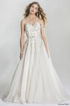 lillian west spring 2016 bridal gorgeous strapless sweetheart neckline lace embroidered beautiful ball gown a  line wedding dress style 6419 #alineweddingdress #ballgown #weddingdresses