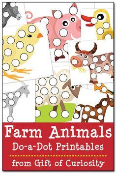 Farm animal do-a-dot printables - Gift of Curiosity