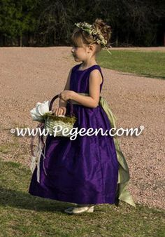 08b11491924 Flower girl dresses - Pegeen.com Royal Purple and Sage Green Silk Flower  Girl Dress