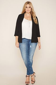 Forever 21+ - A woven collared blazer with notched lapels, long folded cuff sleeves, and twin front patch pockets.