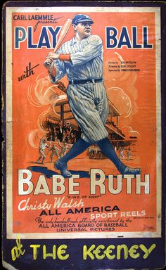 Babe Ruth Sports Reel Poster Art Dad and Papppap loved baseball