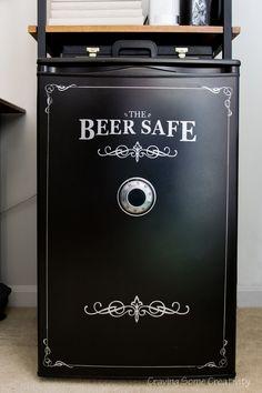 Paint a mini fridge like a beer safe