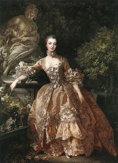 Portrait of Marquise de Pompadour    Jeanne-Antoinette Poisson, Marquise de Pompadour, also known as Madame de Pompadour (29 December 1721 – 15 April 1764), was a member of the French court, and was the official maîtresse-en-titre of Louis XV from 1745 to 1750.    François Boucher, Portrait de la marquise de Pompadour, 1759, Wallace Collection, Londen