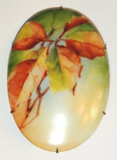 Large Painted Porcelain Brooch, Pin, Fall, Autumn Leaves, Antique, Victorian