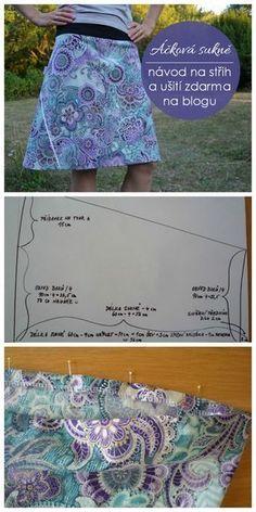 Áčková sukně - návod jak si připravit střih a ušít si áčkovou sukni. Sewing Patterns Free, Sewing Tutorials, Knitting Patterns, Crochet Patterns, Sewing Pants, Sewing Clothes, Diy Clothes, Crochet For Beginners, Sewing For Beginners