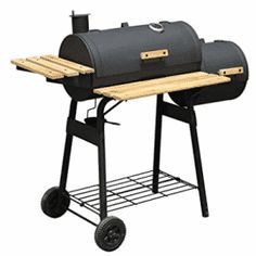 Outsunny Backyard Charcoal (Grey) BBQ Grill / Offset Smoker Combo w/ Wheels