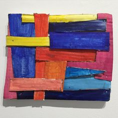 """"""" """"Primary Strips,"""" acrylic paint and cardboard mounted on canvas Homemade Art, Cardboard Art, Collage, Canvas, Instagram Posts, Painting, Trendy Tree, Tela, Collages"""