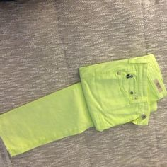 """AG Stilt neon yellow chinos 5 pocket """"jeans"""" style but soft super stretch non-denim fabric for a more formal look. AG Adriano Goldschmied Jeans"""