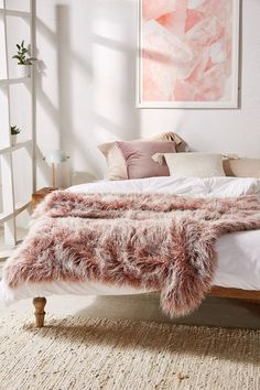 Marisa Tipped Faux Fur Throw Blanket   Urban Outfitters   Covetboard