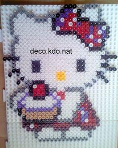 DECO.KDO.NAT: Perles hama: hello kitty gâteau