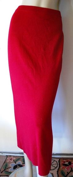 EILEEN FISHER Long Red Italian Merino Wool Knit Sweater Skirt Size PM Straight M #EileenFisher #StraightPencil