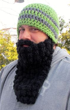 I would like to see a picture of more than a couple people at a coffee shop, bar or farmers market wearing these. Love it. Described as Mountain Man beard but think could fit well with religious themes. Mountain Man Beard Hat by HookedByAmy on Etsy, $32.50