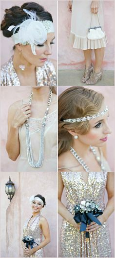 Wedding ● Dress & Accessories ●  Great Gatsby 1920's Inspired; like the middle on right pic