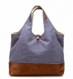 Striped Linen Shopper  We love the nautical blue-and-white stripes on this practical linen tote.     Zara Linen Shopper, $50