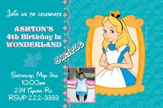 Alice in Wonderland Birthday Invitations  -  Get these invitations RIGHT NOW. Design yourself online, download and print IMMEDIATELY! Or choose my printing services. No software download is required. Free to try!