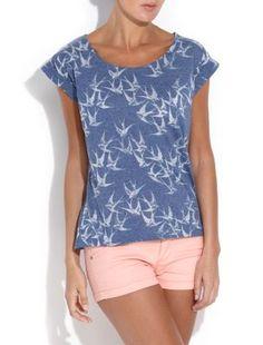 Blue/White Raglan Short Sleeve T - Shirt