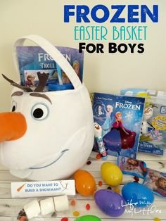 """What to put in a Disney FROZEN Easter basket for little boys! Complete with a printable """"Do You Want to Build a Snowman"""" treat topper! Frozen Easter Basket, Boys Easter Basket, Easter Baskets, Spring Crafts, Holiday Crafts, Christmas Diy, Olaf Halloween, Boyfriend Crafts, Boys Life"""