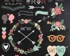 Chalkboard Wedding Clipart CHALKBOARD WEDDING clip by YenzArtHaut