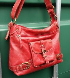 Red Leather cross body messenger bag, Large red leather messenger bag.  Leather Satchel messeger bag. by LuckSy on Etsy