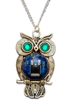 Cyberpunk Blue Circuit Board Owl Necklace with Green Eyes. Genuine Circuit Board encased in Water Clear Resin. Hand Made in Cornwall, UK. Owl Necklace, Pendant Necklace, Clear Resin, Green Eyes, Cyberpunk, Circuit, Goodies, Jewellery, Awesome