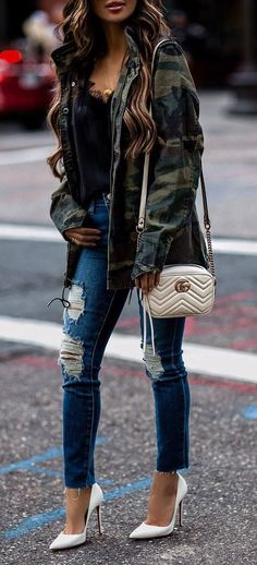 street style perfection / khaki jacket + bag + top + ripped jeans + heels