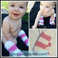 Free Crochet Pattern for Striped Baby Leg Warmers. Fast and easy.