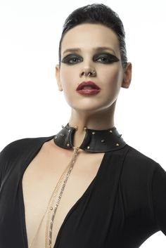 Leather Goth Glam Studded Collar, with O-Ring, BDSM day colar, Leather Punk Collar Leather Bustier, Wide Leather Belt, Leather Harness, Leather Collar, Leather Necklace, Leather Jewelry, Leather Craft, Leather Handcuffs, Leather