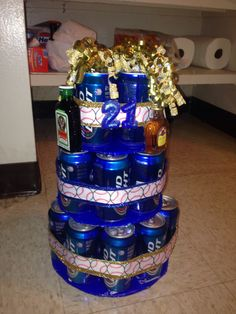 The birthday beer can cake I made for my baseball boyfriends 21st birthday.