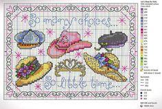 so many choices, hats Tiny Cross Stitch, Cross Stitch Boards, Simple Cross Stitch, Cross Stitch Flowers, Cross Stitch Designs, Cross Stitch Patterns, Stitch Costume, Cross Stitch Collection, Le Point