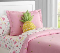 Oxford Embroidered Pineapple Duvet Cover | Pottery Barn Kids