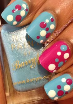 Polish Obsession dotticure with Barry M polishes - Turquoise and Fuchsia.