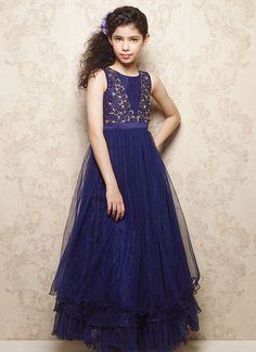Doll Blue Net Layered Kids Gown