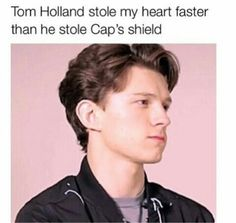 Tom Holland stole my heart faster than he stole Cap's shield #TomHolland #tomhollandspiderman #spidermanhomecoming #spiderman #marvel