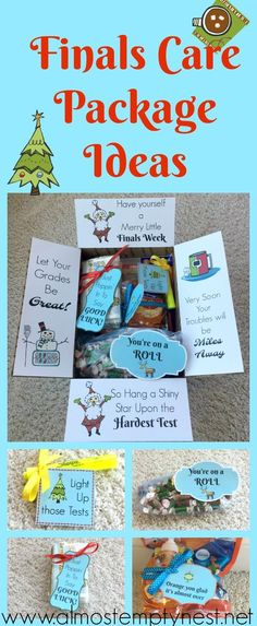 College finals care package ideas with free finals care package printables. How to make final exam care packages college students. College Gift Boxes, College Gifts, College Gift Baskets, Diy Makeup Organizer, Cool Diy, Karaoke, Christmas Care Package, Care Box, Care Care
