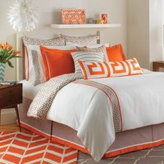 Jill Rosenwald's Orange White Taupe Key Duvet to your bed for a graphic...
