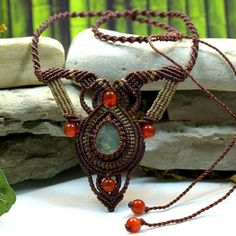 FLUORITE & CARNELIAN BALANCING NECKLACE - Handcrafted macrame necklace