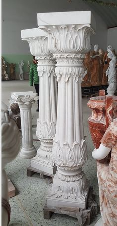 Decorative Pillars, Wooden Pillars, Wood Carving Designs, Wood Carving Art, Art Sculpture, Sculptures, Thermocol Craft, Columns Decor, Marble Pillar